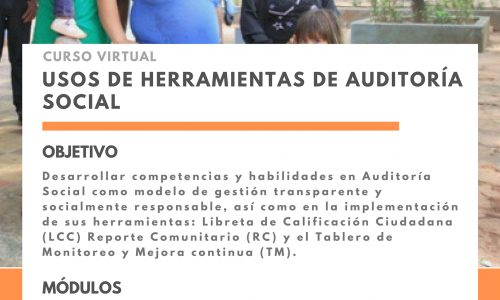 f7430325c Curso de capacitación virtual en herramientas de Auditoría Social: Libreta  de Calificación Ciudadana, Reporte Comunitario y Tablero de Monitoreo y  Mejora ...